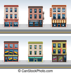 stad, gebouwen, vector, set, pictogram