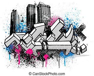 stad, graffiti, achtergrond