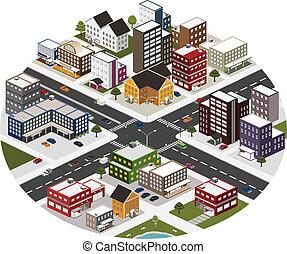 stad, isometric, scène, groot