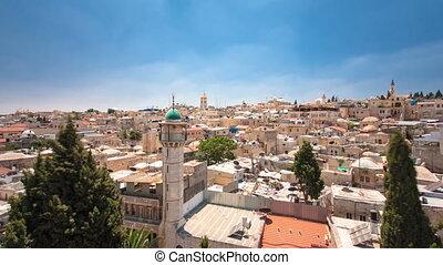 stad, israël, oud, panorama, opstellen, timelapse, dak, hospice, oostenrijks, jeruzalem, tempel, hyperlapse