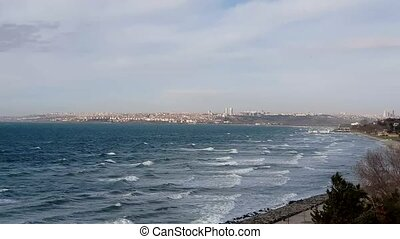 stad, istanbul., turkey., rijk, marmara, publiek, informatietechnologie, een, hoog, opgespoorde, sea., zee, prachtig, afsluiten, langs, istanboel, stand, florya, gebieden