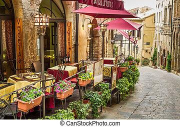 stad, italië, ouderwetse , oud, hoek, koffiehuis