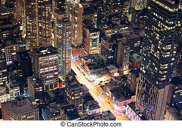 stad, luchtopnames, straat, york, nacht, nieuw, manhattan, aanzicht