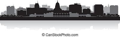 stad, madison, silhouette, skyline