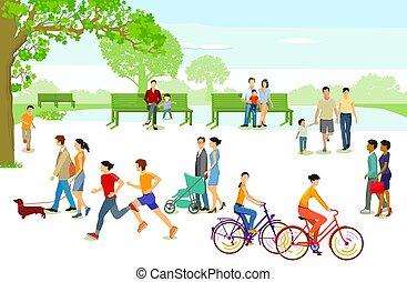 stad mensen, park.eps, vrije tijd