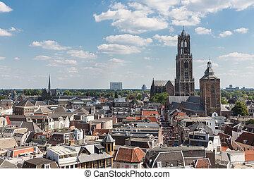 stad, nederland, luchtopnames, middeleeuws, vierde, cityscape, utrecht
