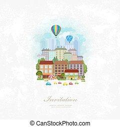 stad, ouderwetse , op, lucht, warme, uitnodiging, ballons, kaart