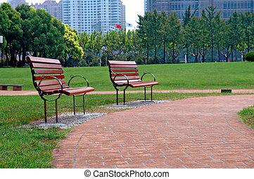 stad park, weg, wandeling