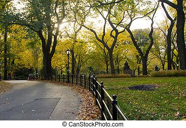 stad park, -, york, herfst, nieuw, cetral