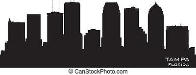 stad, silhouette, florida, skyline, vector, tampa