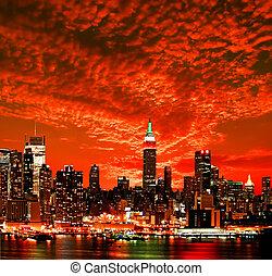 stad skyline, york, nieuw, midtown