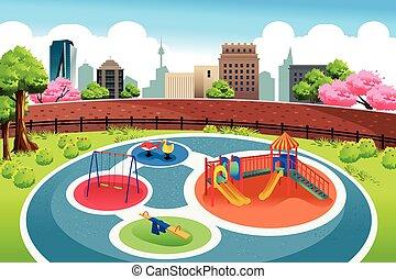 stad, speelplaats, achtergrond
