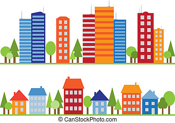 stad, stad, model, seamless, dorp, of