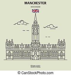 stad, uk., oriëntatiepunt, manchester, zaal, pictogram