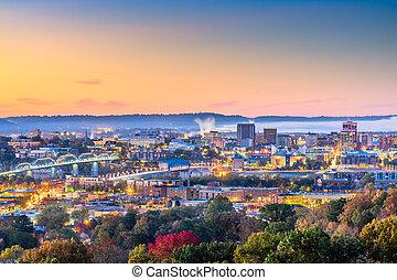 stad, usa, schemering, tennessee, downtown, skyline, chattanooga