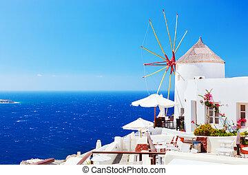 stad, windmolen, eiland, oia, beroemd, santorini, griekenland