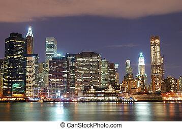 stad, york, wolkenkrabbers, nieuw, nacht
