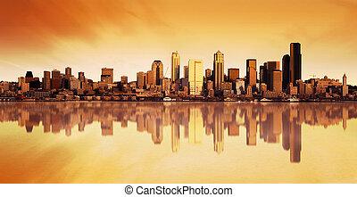 stad, zonopkomst, aanzicht