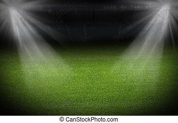 stadion, verlicht, schijnwerpers, helder, groen veld, voetbal