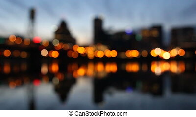 stadslichten, bokeh, nacht, portland of