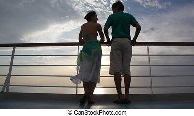 stalletjes, dek, paar, cruise, besprekingen, scheeps