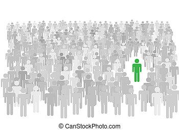 stalletjes, mensenmassa, symbool, groot, persoon, individu, uit