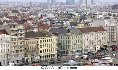stalletjes, wener, tegen, daken, donau, toren, boven, landscape, stad, huisen