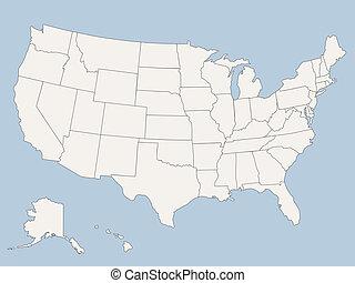 staten, kaart, amerika, verenigd, vector