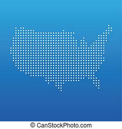 staten, kaart, verenigd, punt