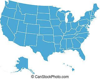 staten, kaart, verenigd, vector