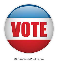 staten, stem, verenigd, verkiezing, button.