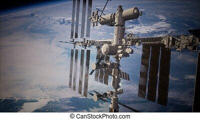 station, ruimte, internationaal, aarde, planeet, buitenst, op