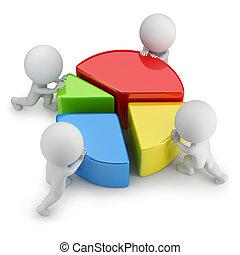 statistiek, mensen, -, teamwork, kleine, 3d