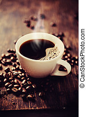 steaming, brouwen, coffee., vers, kop