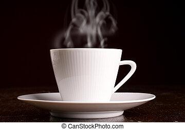 steaming, hete koffie, kop