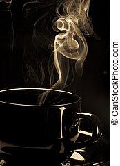 steaming koffie, black , kop