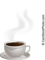 steaming koffie, kopsaucer