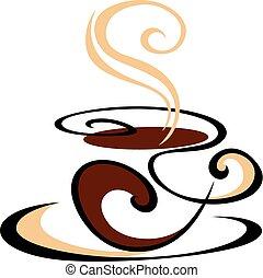 steaming koffie, swirling, kop