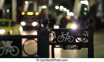 stedelijke , fiets, nachtleven, rek