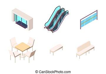 stedelijke , isometric, winkelcentrum, vrijstaand, verzameling, element, entry., 3d