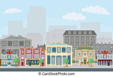 stedelijke , straat scêne, smart, townhouses
