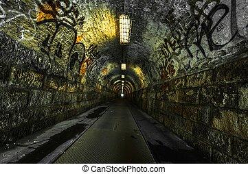 stedelijke , tunnel, ondergronds
