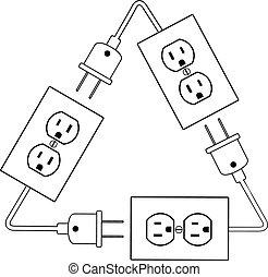 stekker, elektrische energie, afzetgebieden, elektrisch, hergebruiken, vernieuwbaar