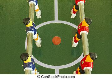 stelen voetbal op, of, football veld
