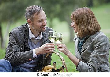 stellen, drinkt, champagne, liefde