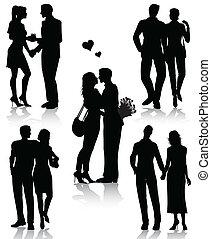 stellen, silhouettes, romantische