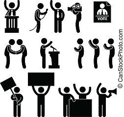 stem, politicus, verkiezing, reporter