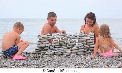 stenen, gebouw, branding, zee, gezin, strand, muur, vier, achtergrond
