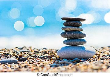 stenen, grijs, vorm, spa, toren, strand, kiezelsteen