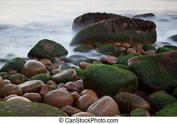 stenen, maine, afgronden, usa, nationale, kust, park, acadia, water, vaag, otter